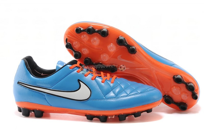 Nike Tiempo Legend V AG Orange Bleu Blanc Orange