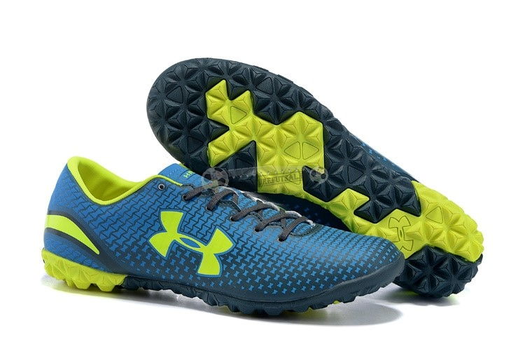 Under Armour Clutchfit Force TF Bleu Vert Fluorescent