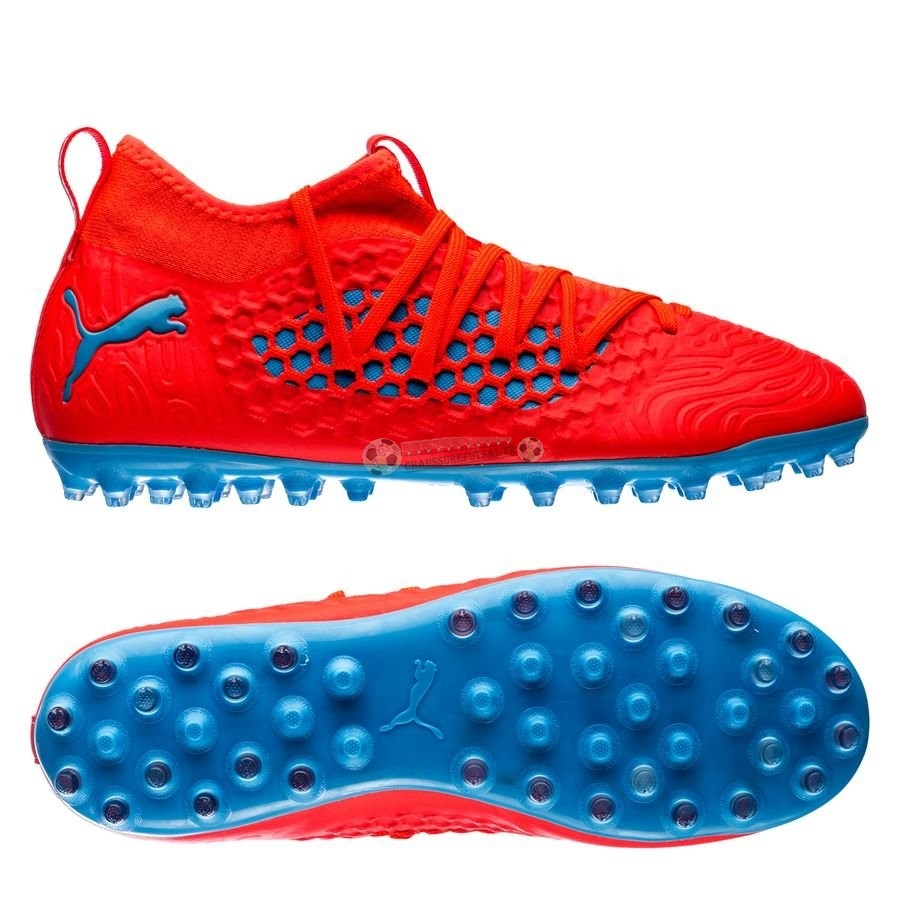 Puma Future 19.3 Netfit Enfant MG Power Up Rouge Bleu
